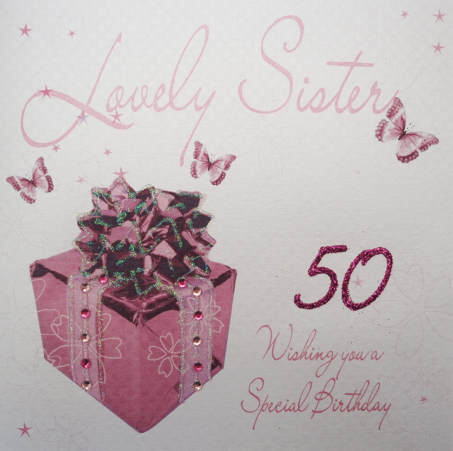 WHITE COTTON CARDS Lovely Sister 50 Wishing You A Special Handmade 50th Birthday Card Pink Present Amazoncouk Kitchen Home