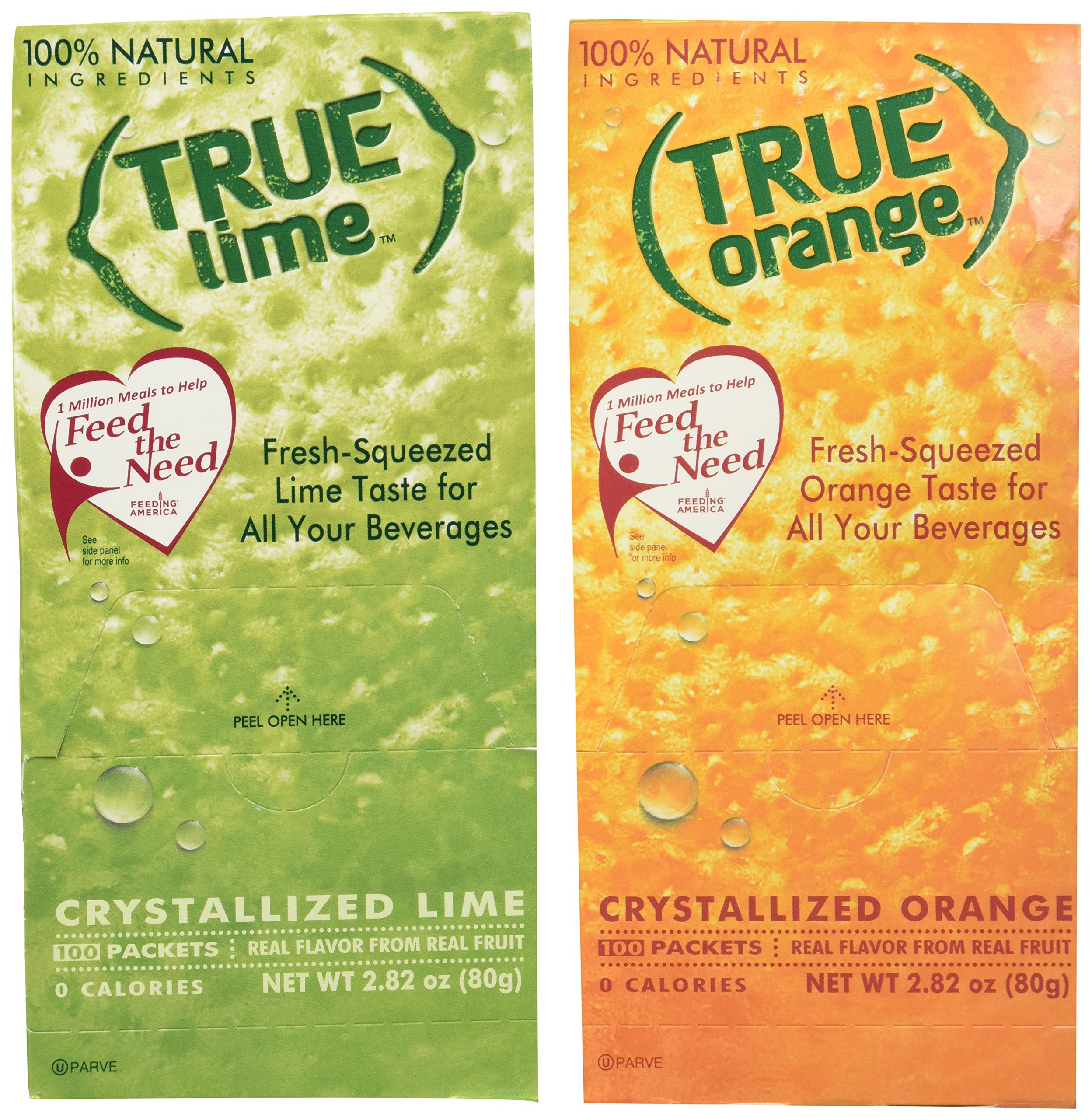 True Lime and True Orange Bulk Dispenser Packets 100ct (2pk Variety). Sugar Free, Natural Flavored Water Enhancer, Packets Are Great Powdered Drink Mix for Paleo Diet, Atkin's Diet.