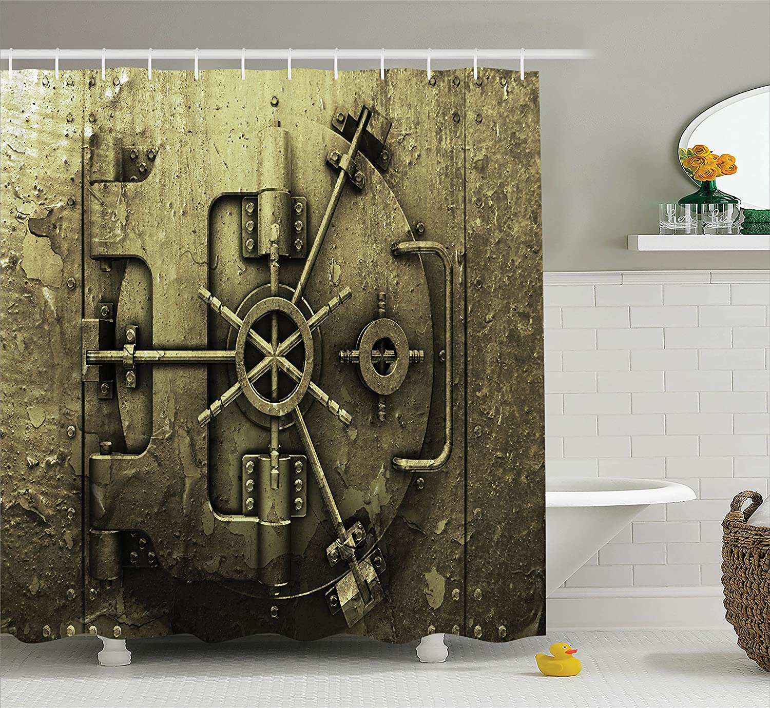 Polyester Fabric Bathroom Shower Curtain Set with Hooks Dark Olive Ambesonne Rustic Decor Collection Grunge Style Bank Vault Illustration Safe Secure Precious Treasure Protection Image Pritn
