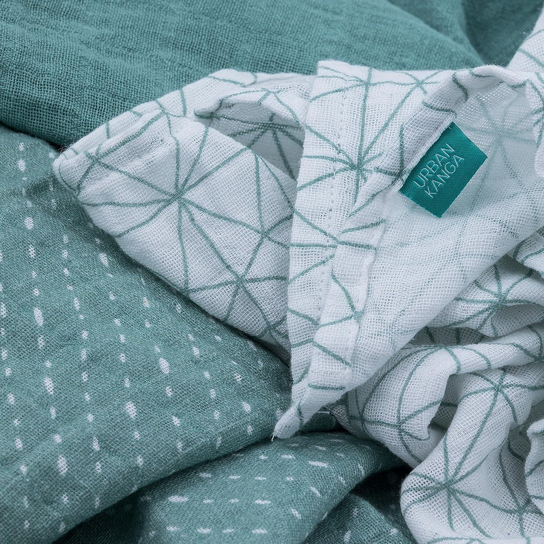 Pack de 3 Azul Mantas de Muselina Urban Kanga Pa/ños de Muselina de Algod/ón 70 X 70 cm Gasas de Algod/ón