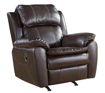 Abbyson Vera Leather Nursery Rocker Recliner Chair, Dark Brown