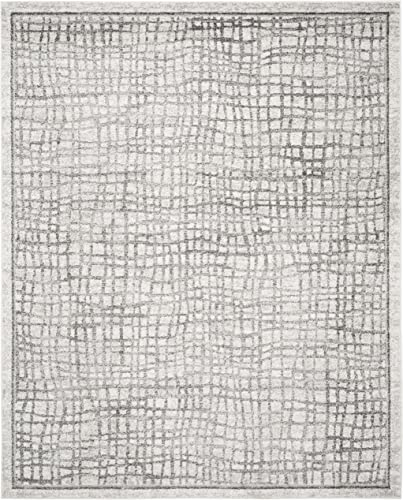 Safavieh Adirondack Collection ADR103B Silver and Ivory Modern Distressed Area Rug 9 x 12