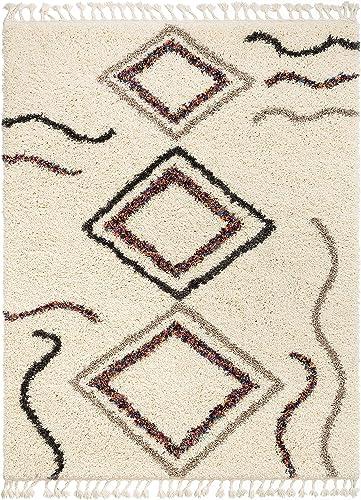 Well Woven Asmaa Ivory Moroccan Shag Tribal Diamond Medallion Pattern Area Rug 8×10 7'10″ x 9'10″