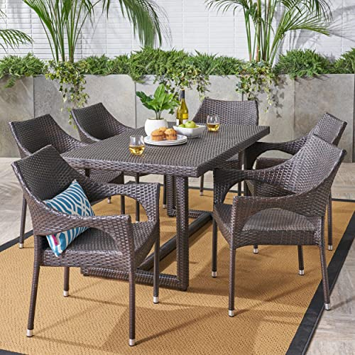 Christopher Knight Home 304728 Rice Outdoor 7 Piece Wicker Dining Set