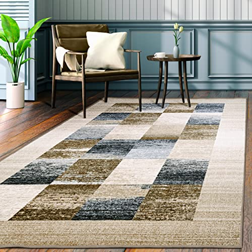 Superior s Designer Non-slip Lockwood Area Rug Digitally Printed, Low Maintenance, Affordable and Fashionable, Cream – 5 x 8