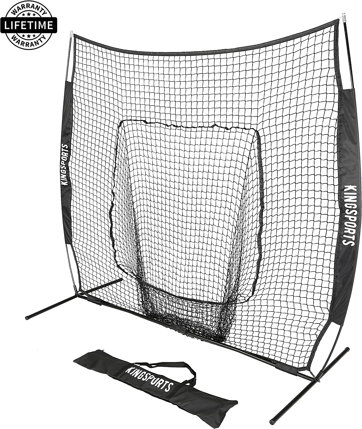 KingSports Collapsible Baseball Net Softball Net, 7 x 7 Large Mouth Outdoor Sports Net with Bow Net Frame Carry Bag