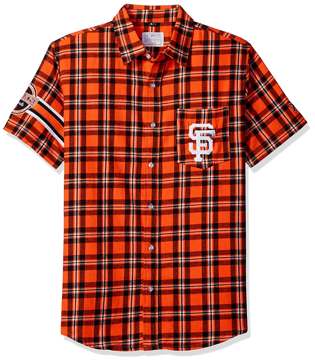 Klew MLB San Francisco Giants Wordmark Flanell Short Sleeve knöpfbaren Shirt