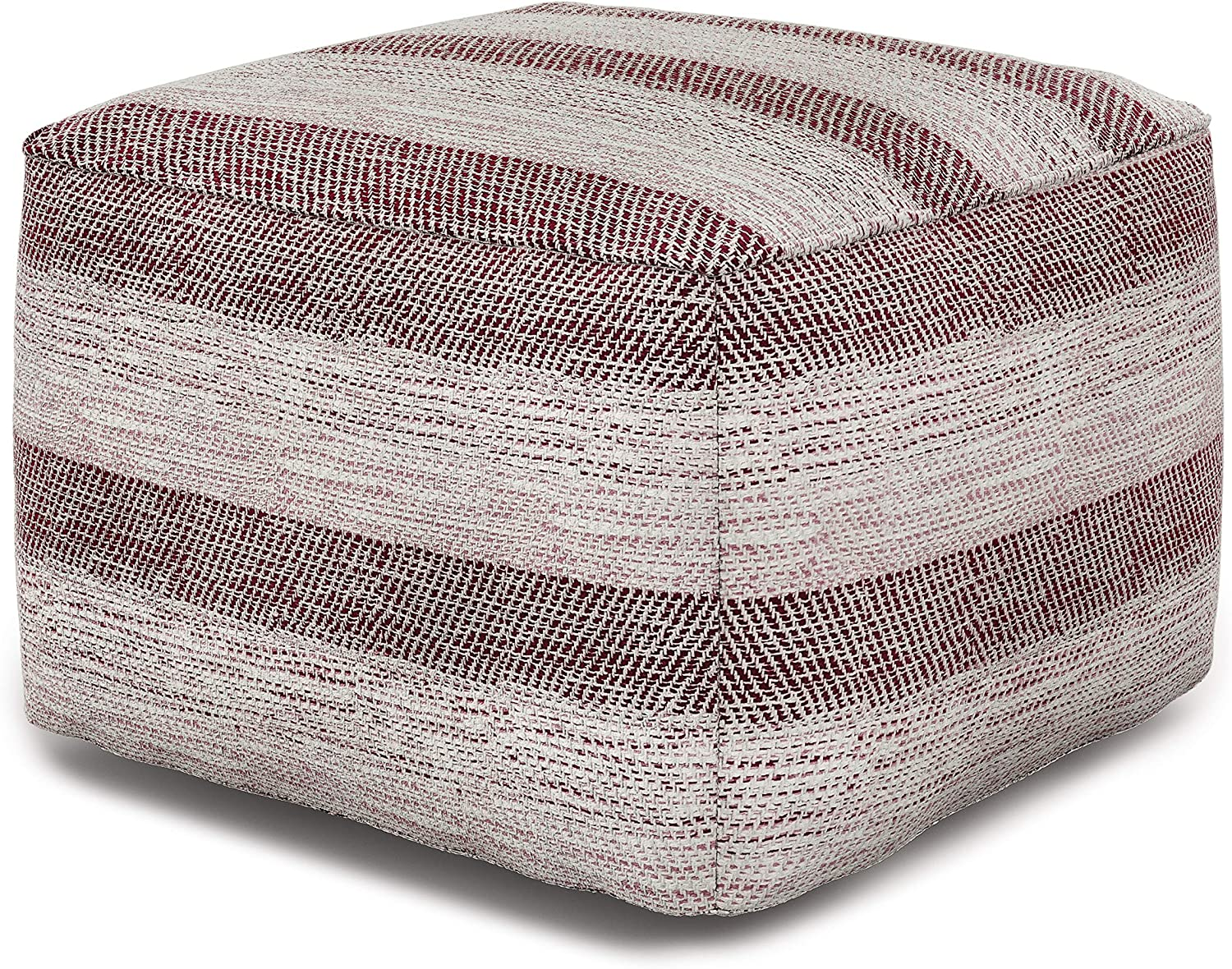 SIMPLIHOME Clay Square Pouf, Footstool, Upholstered in Patterned Maroon Melange Hand Woven Cotton, for the Living Room, Bedroom and Kids Room, Transitional, Modern