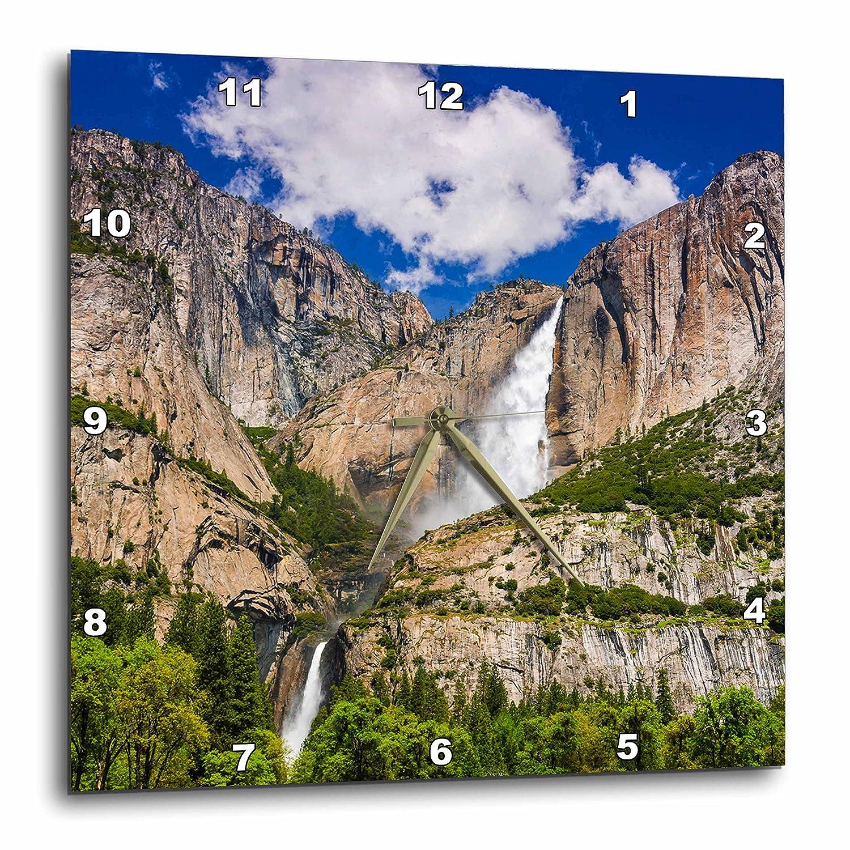 3dRose Yosemite Falls Cascading Down into The Valley USA Wall Clock 15 x 15 California