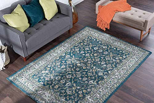 Tayse Lucia Navy 9×13 Rectangle Area Rug for Living, Bedroom, or Dining Room – Traditional, Oriental