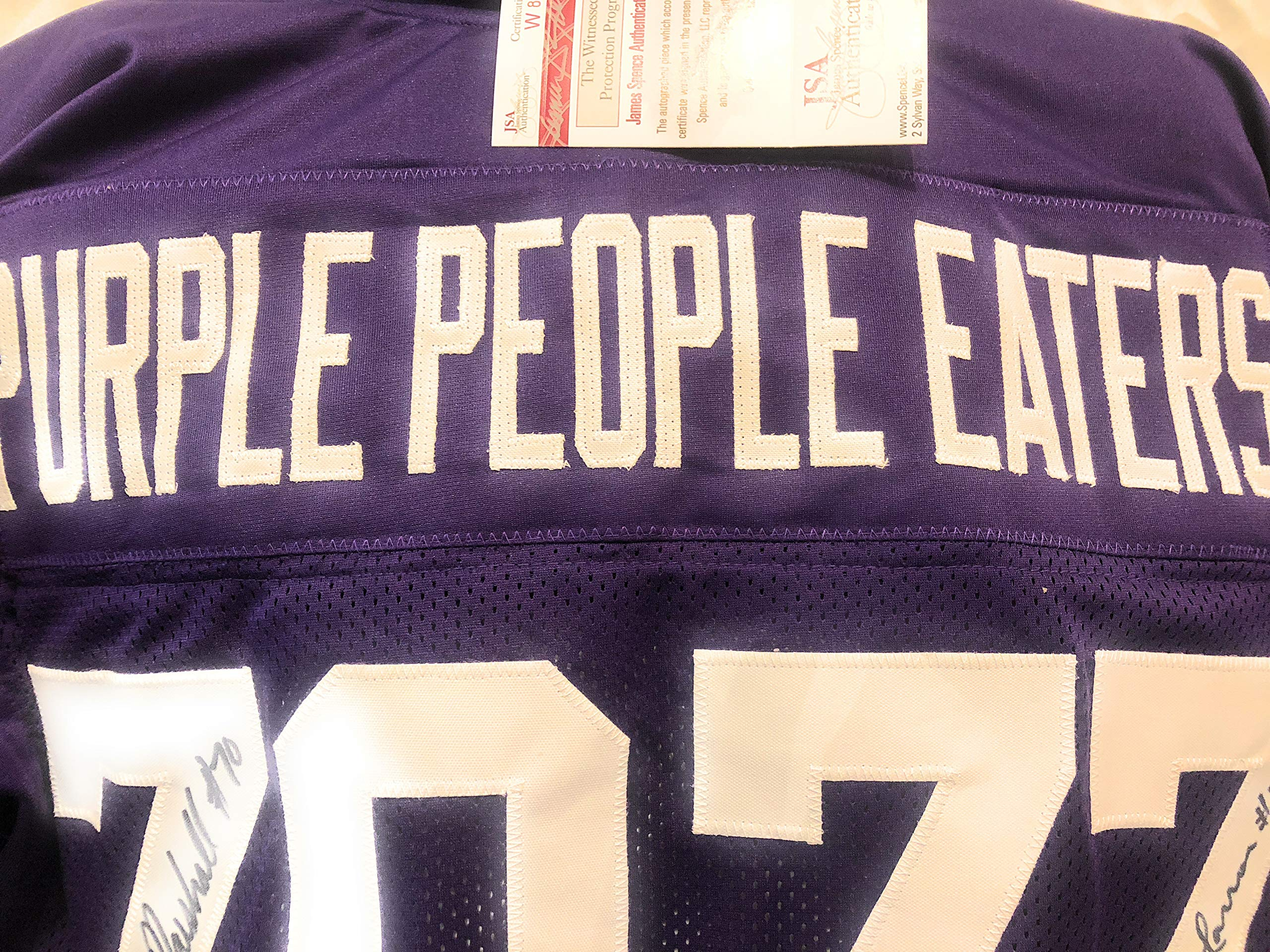 Alan Page Carl Eller Jim Marshall Gary Larsen Minnesota Vikings Signed Autograph White Custom Jersey Purple People Eaters JSA Witnessed Certified