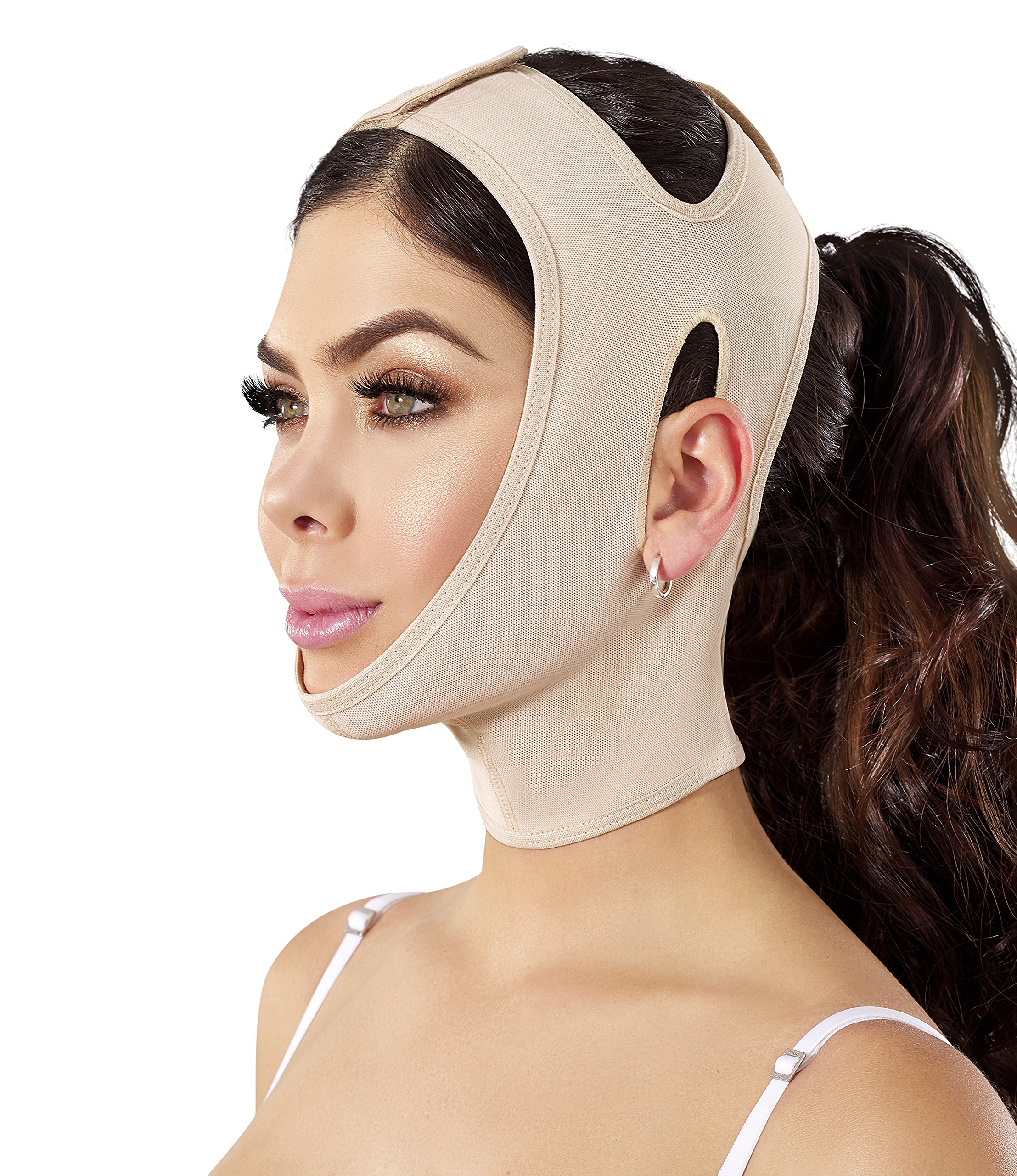 Chin strap Support Band Neck Bandage Mentonera Post Quirurgica Face Lifting Slimmer Chin Lift Facial Compression SCA001 (Large, Beige)