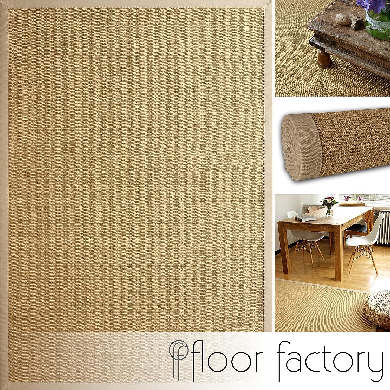 Floor factory Sisal Teppich Beige 160x230 cm 100% Naturfaser mit Leinenbordüre