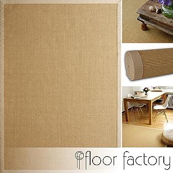 floor factory tapis sisal beige 80x150 cm 100 fibre naturelle bordures en coton - Tapis Sisal