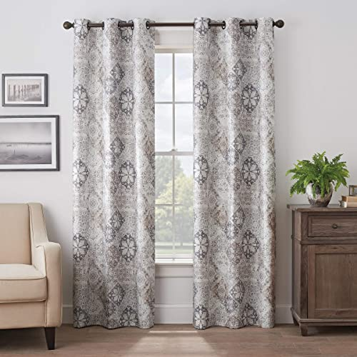 Eclipse Martina Medallion Grommet Top Curtains for Bedroom, Single Panel, 40 x 95 , Taupe