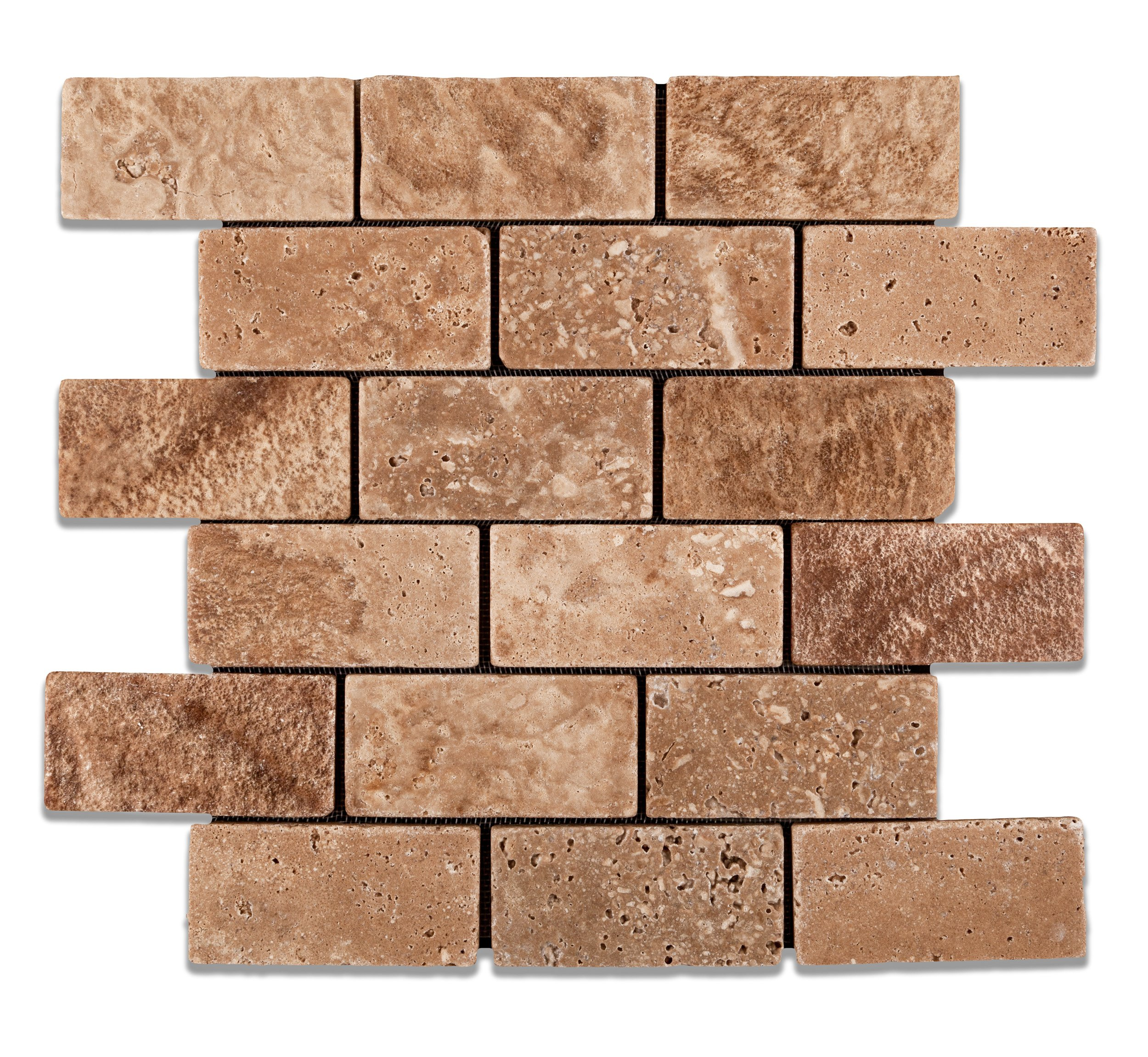 Andean Walnut Peruvian Travertine 2 X 4 Tumbled Brick Mosaic Tile - Box of 5 Sheets
