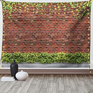 Lunarable Brick Wall Tapestry Queen Size, Brick Wall with Creeper Plants and Leafs Natural Beauty Pattern Print, Wall Hanging Bedspread Bed Cover Wall Decor, 88