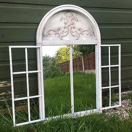 ABM Vintage rústico blanco metal arqueado espejo de jardín Shutters al aire libre ilusión ventana: Amazon.es: Hogar