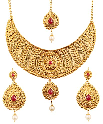 ce69ab7a38 Buy Touchstone Indian Ethnic and Innovative Heavy Designer Jewelry Necklace  Set Embellished with Faux Ruby for Women in Antique Gold Tone. Online at  Low ...