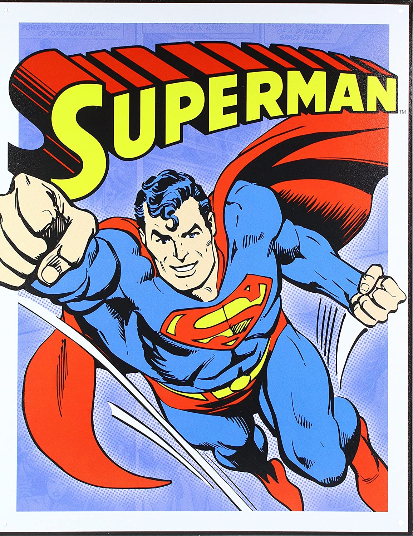 Desperate Enterprises Superman Retro Panels Tin Sign 13x16
