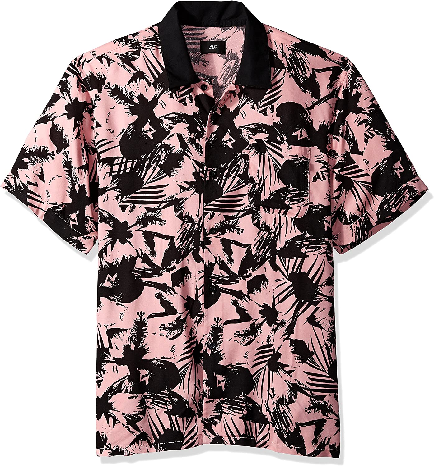 Obey Mens Nate Short Sleeve Button Up Woven