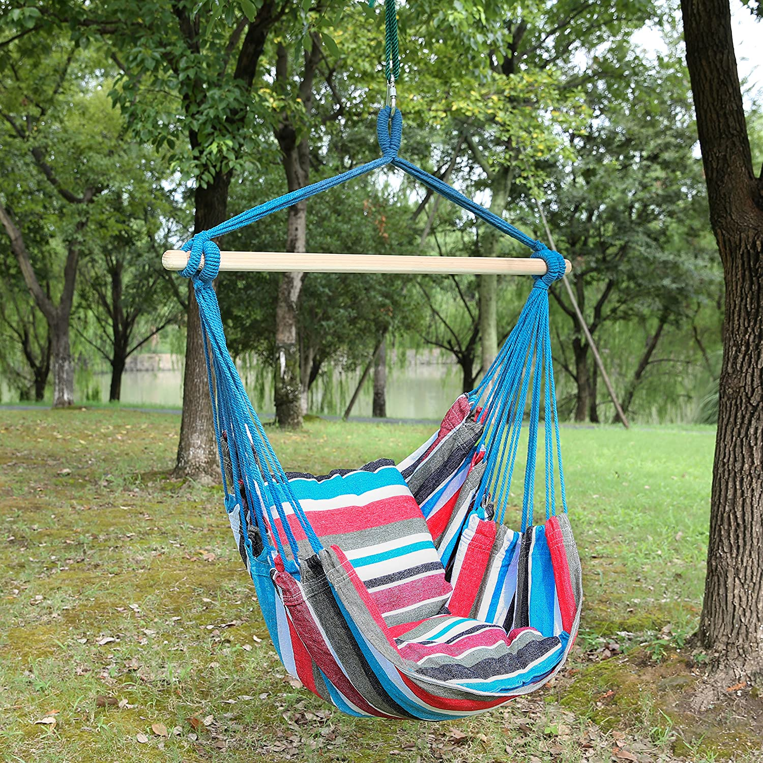 Blissun Hanging Hammock Chair, Hanging Swing Chair With Two Cushions, 34  Inch Wide Seat /(Blue ...