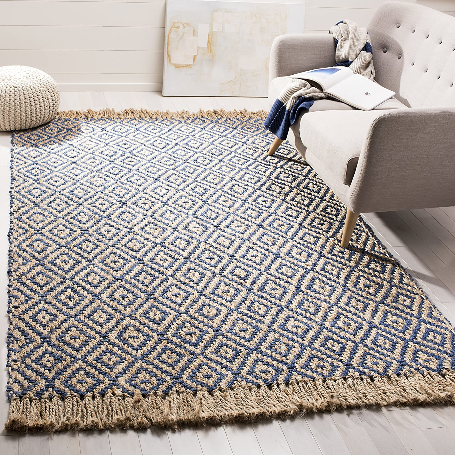 Hand-Woven Tropical Blue and Natural Jute Area Rug