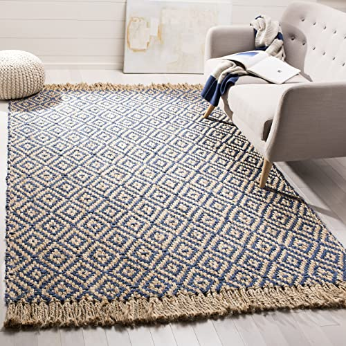 Safavieh Natural Fiber Collection NF266D Hand-Woven Tropical Blue and Natural Jute Area Rug 8' x 10'