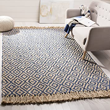 3/' x 5/' Blue Natural Diamond Collection Hand Woven Jute Area Rug Reversible