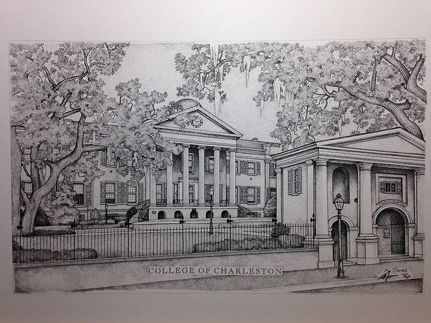 College of Charleston 11x14 pen and ink print