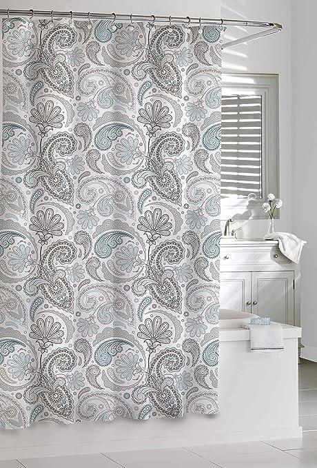 Amazon Com Kassatex Sps 115 Bgr Paisley Shower Curtain Blue Grey