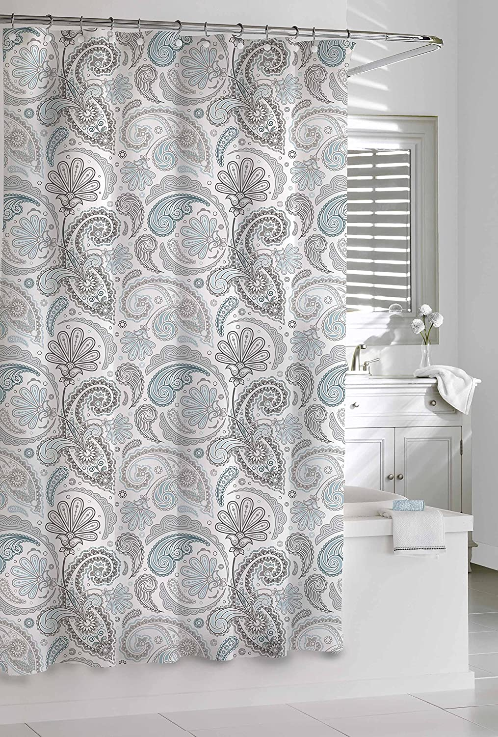 Amazon.com: Kassatex Paisley Shower Curtain, Blue/Grey, 72 by 72 ...
