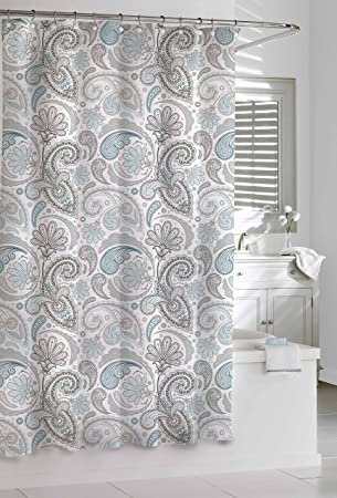 Kassatex Paisley Shower Curtain, Blue/Grey, 72 By 72 Inch