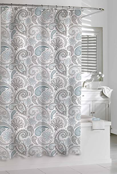 Kassatex SPS 115 BGR Paisley Shower Curtain Blue Grey 72 By