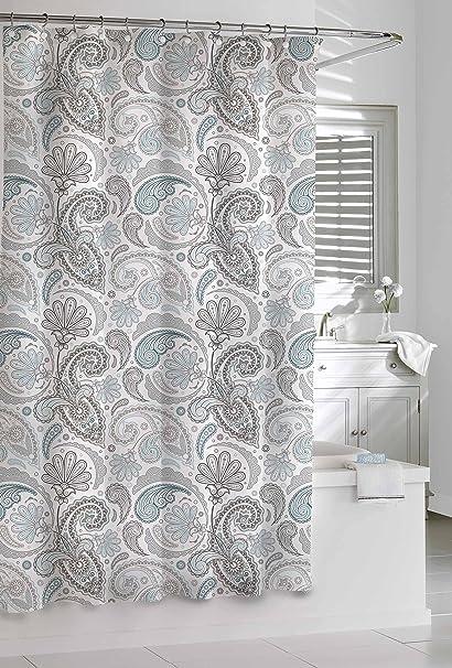 Kassatex SPS 115 BGR Paisley Shower Curtain Blue Grey 72 By