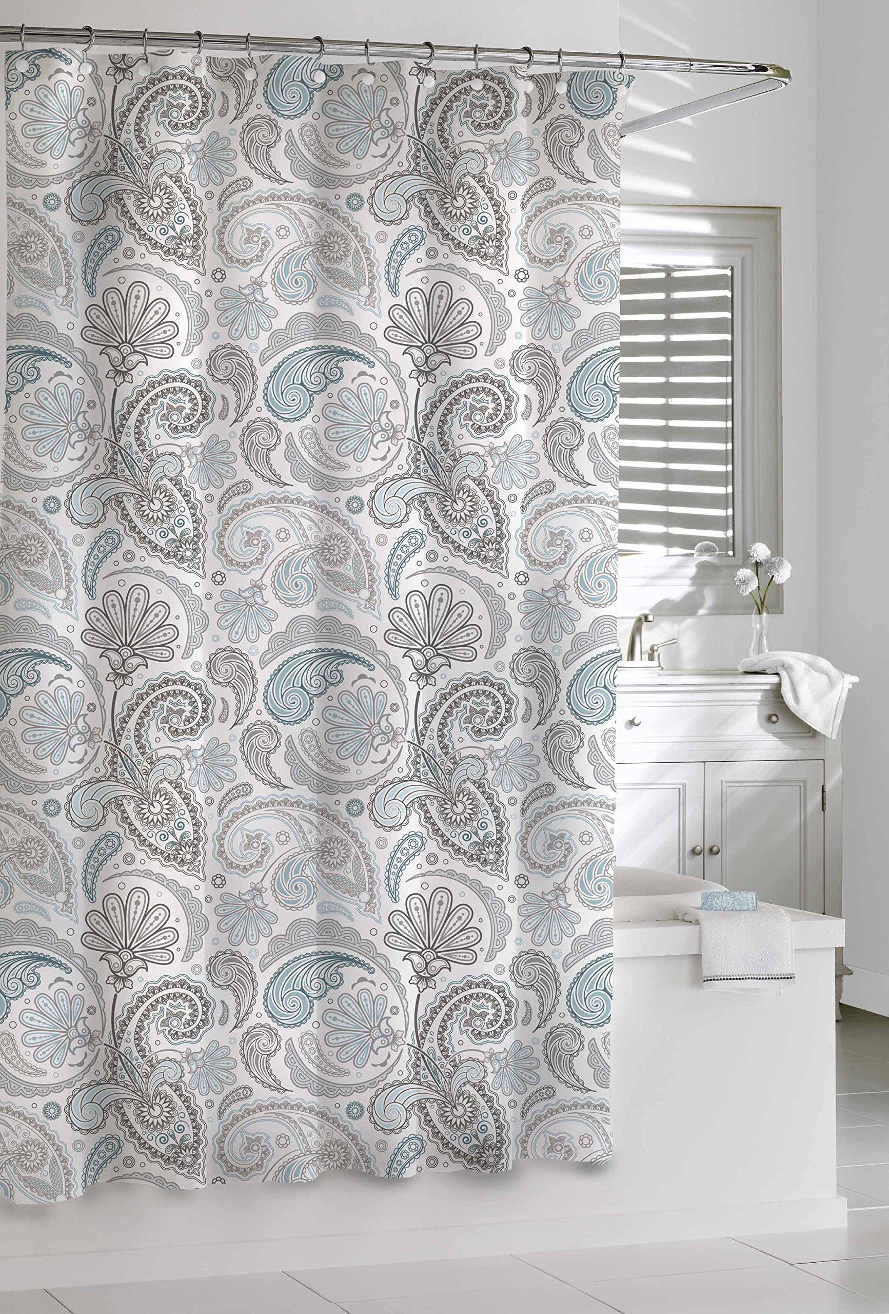 Kassatex SPS-115-BGR Paisley Shower Curtain, Blue/Grey, 72 by 72-Inch - 100% cotton Machine wash Cold, tumble dry low Do not bleach - shower-curtains, bathroom-linens, bathroom - A1Z17R1ifYL -