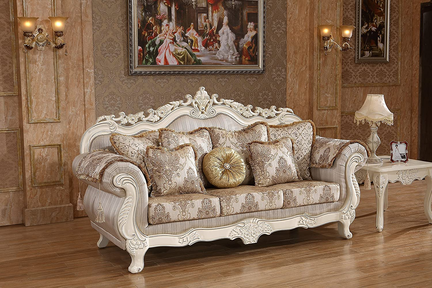 Meridian furniture 691 s serena solid wood upholstered sofa with traditional hand carved designs rolled arms and imported fabrics pearl white finish with