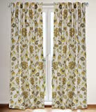 Irene Jacobean Floral Printed Hidden Tab Curtain Panels (Set of 2)  54x88-in, Linen Beige/Soft Yellow/Golds/Greys