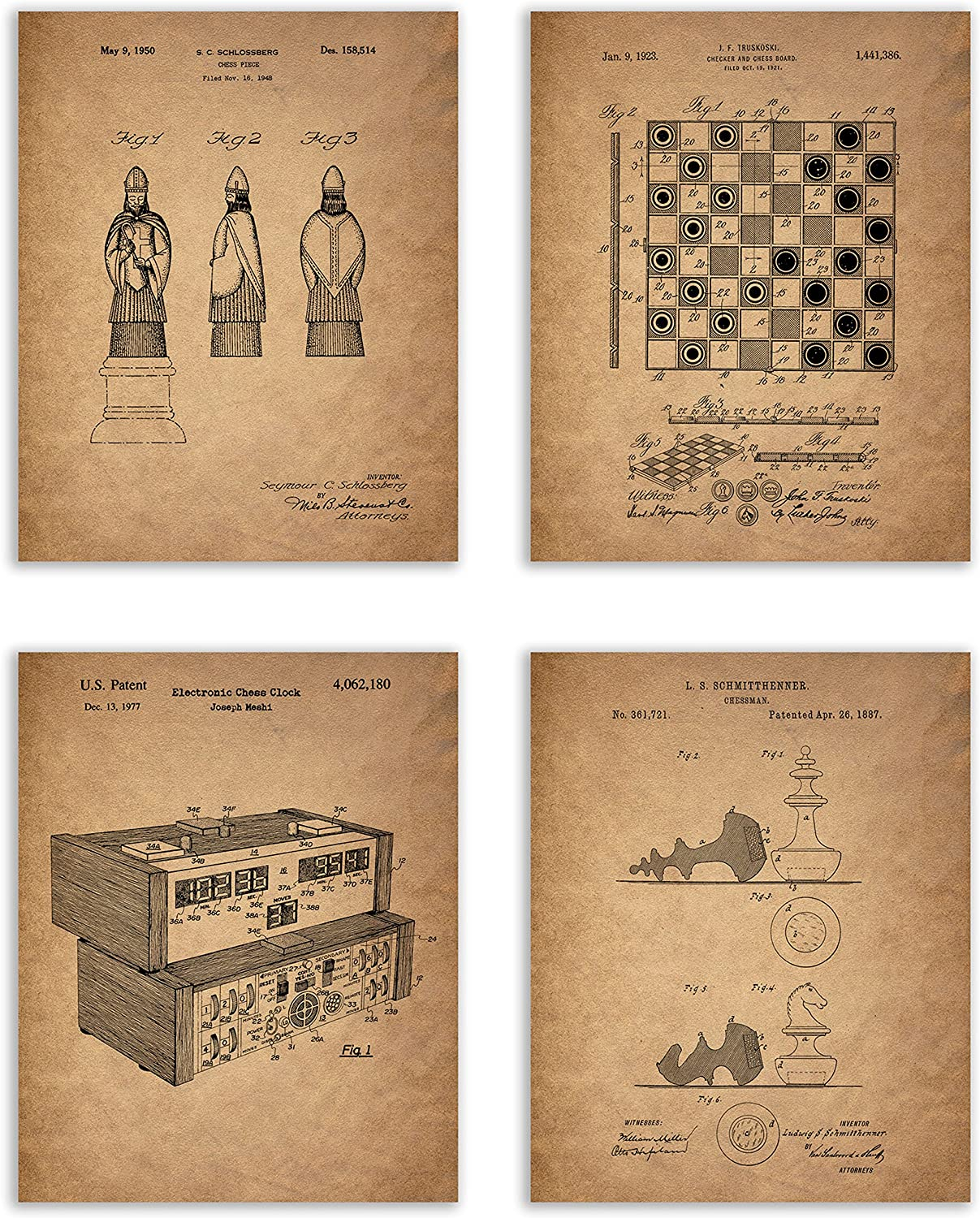 Chess Patent Prints - Set of 4 (8 inches x 10 inches) Photos Vintage Wall Art Decor - Chess Lover Gift