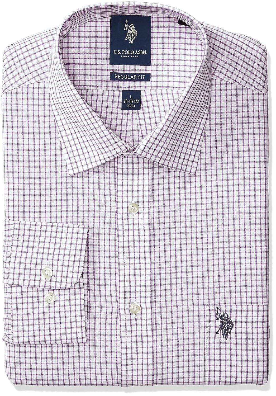 U.S. Polo Assn. Mens Regular Fit Check Semi Spread Collar Dress ...