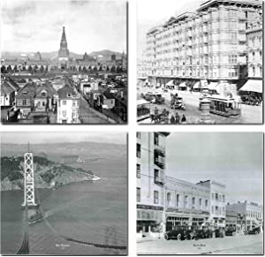 San Francisco Palace Hotel, Auto Row Motor Car, Bay Bridge, Tower of jewels - Pan pacific International exposition Black And White Vintage City Set Four 16x20 Art Print Wall Decor Poster