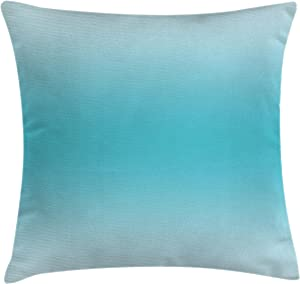 """Ambesonne Ombre Throw Pillow Cushion Cover, Abstract Theme Tropical Beach Cove Aquatic Ombre Design Digital Printed Artwork Print, Decorative Square Accent Pillow Case, 18"""" X 18"""", Turquoise"""