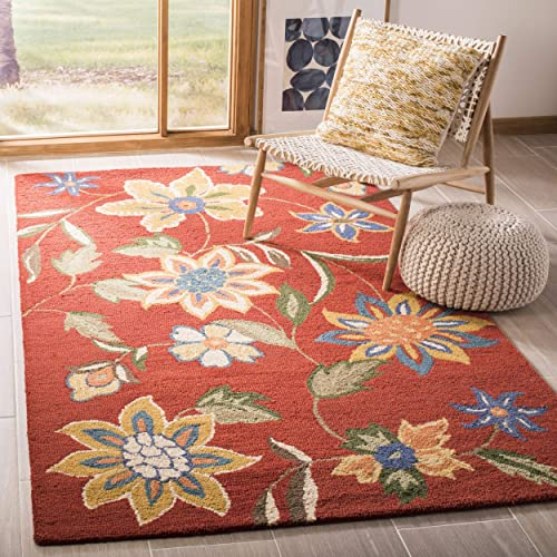Safavieh Blossom Collection BLM673A Handmade Rust and Multi Premium Wool Area Rug 4 x 6