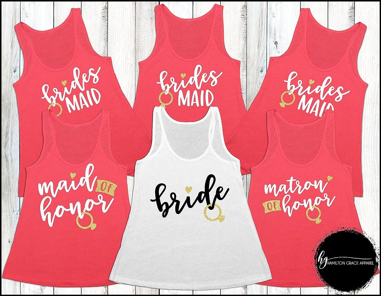 fb58496f8bbe0 Amazon.com: Custom Bridesmaid Shirts Bridesmaid Shirt Set ...