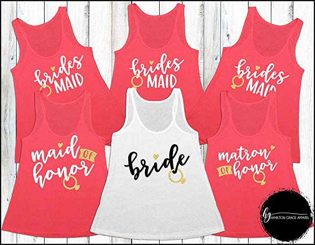 4fe63310c55bb Amazon.com  Custom Bridesmaid Shirts Bridesmaid Shirt Set Bachelorette Party  Shirts Bridesmaid Tank Tops Wedding Shirts Bride Custom Bridal Party  Shirts  ...