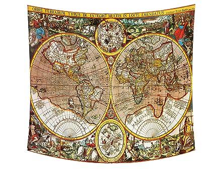 Antique World Map Tapestry.Amazon Com Wamika Vintage World Map Tapestry Wall Art Retro Antique