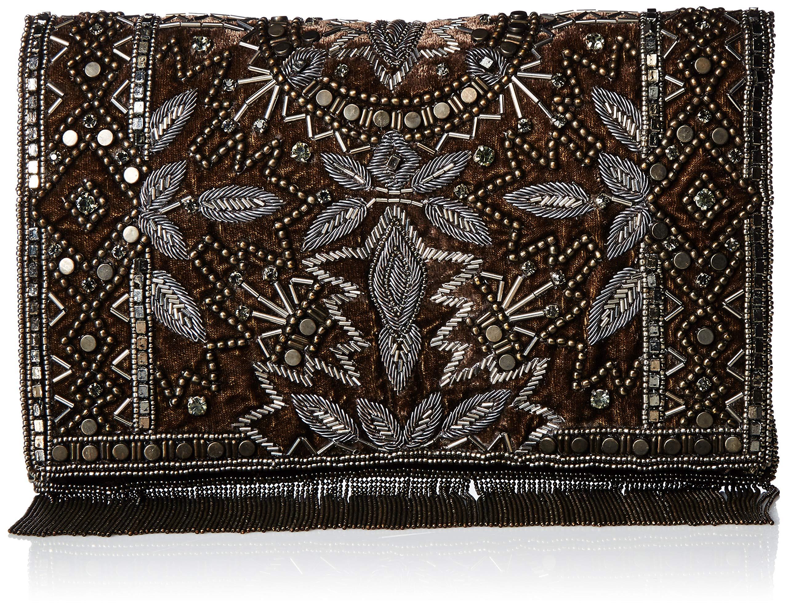 Mary Frances Roaring 20s Antique Pewter Embellished Velvet Crossbody Clutch Handbag, Multi