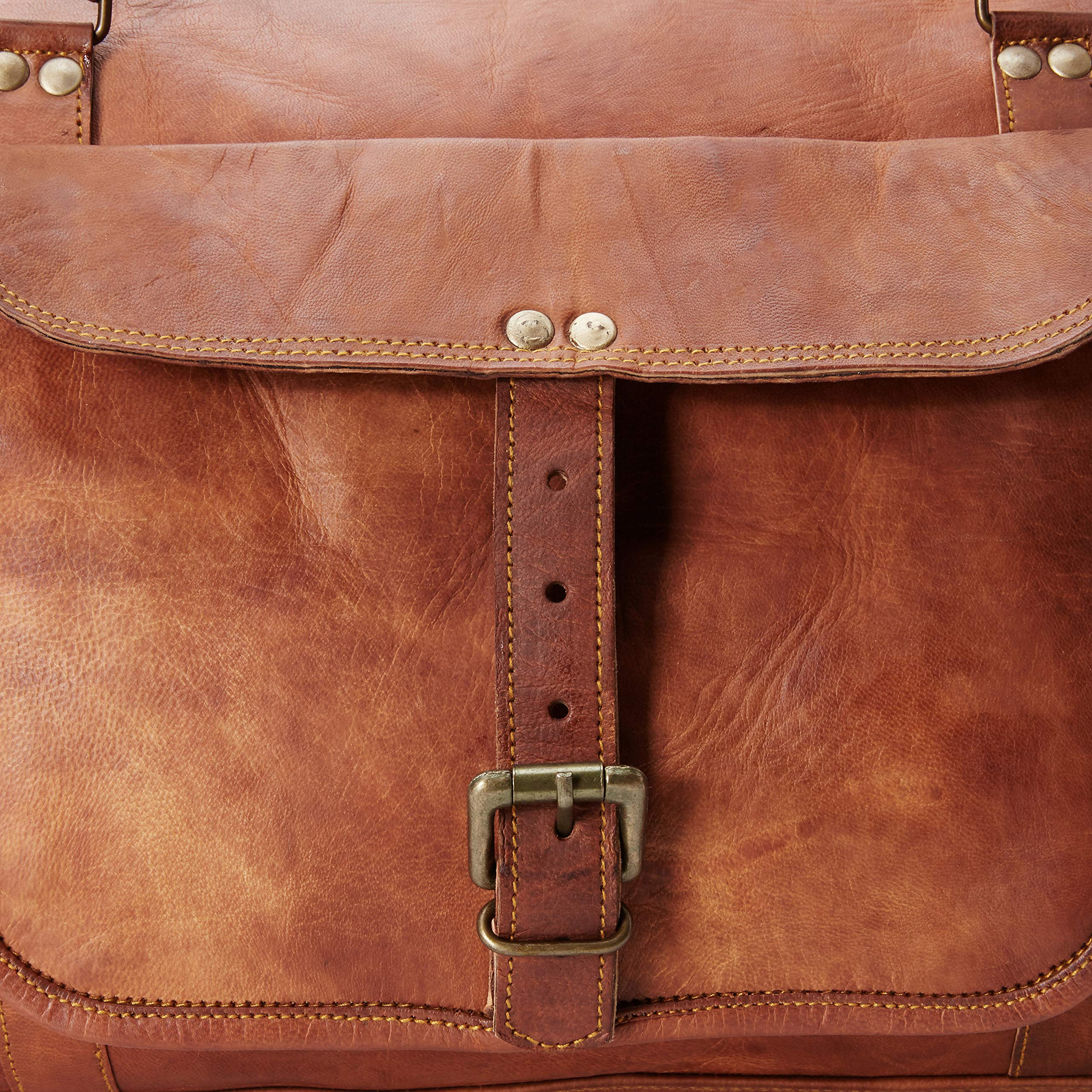 Leather 24 Inch Square Duffel Travel Gym Sports Overnight Weekend Leather Bag by Ruzioon (Image #3)