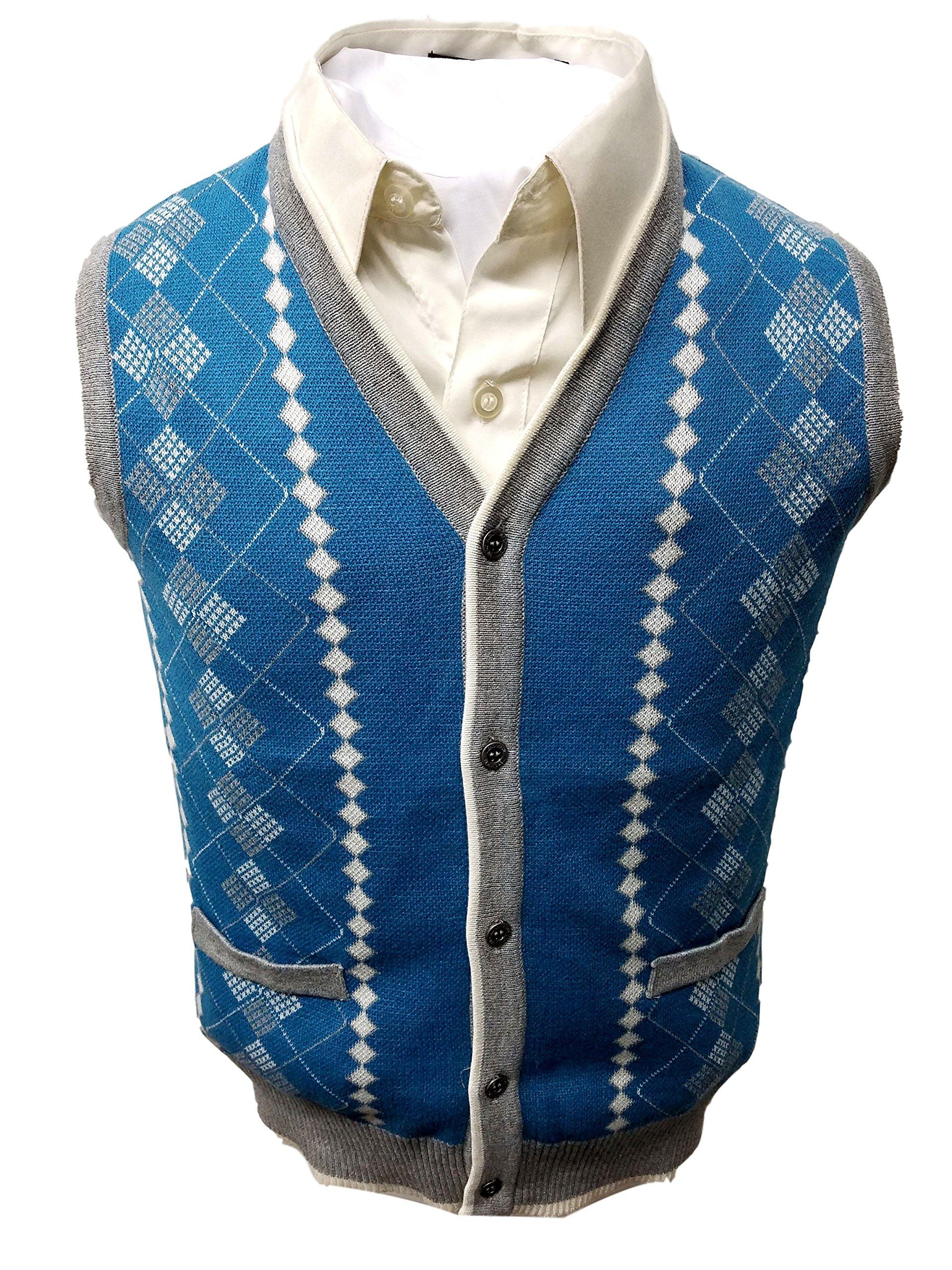 Vest Sweater 100% Cotton 2382 (20, Teal Blue)