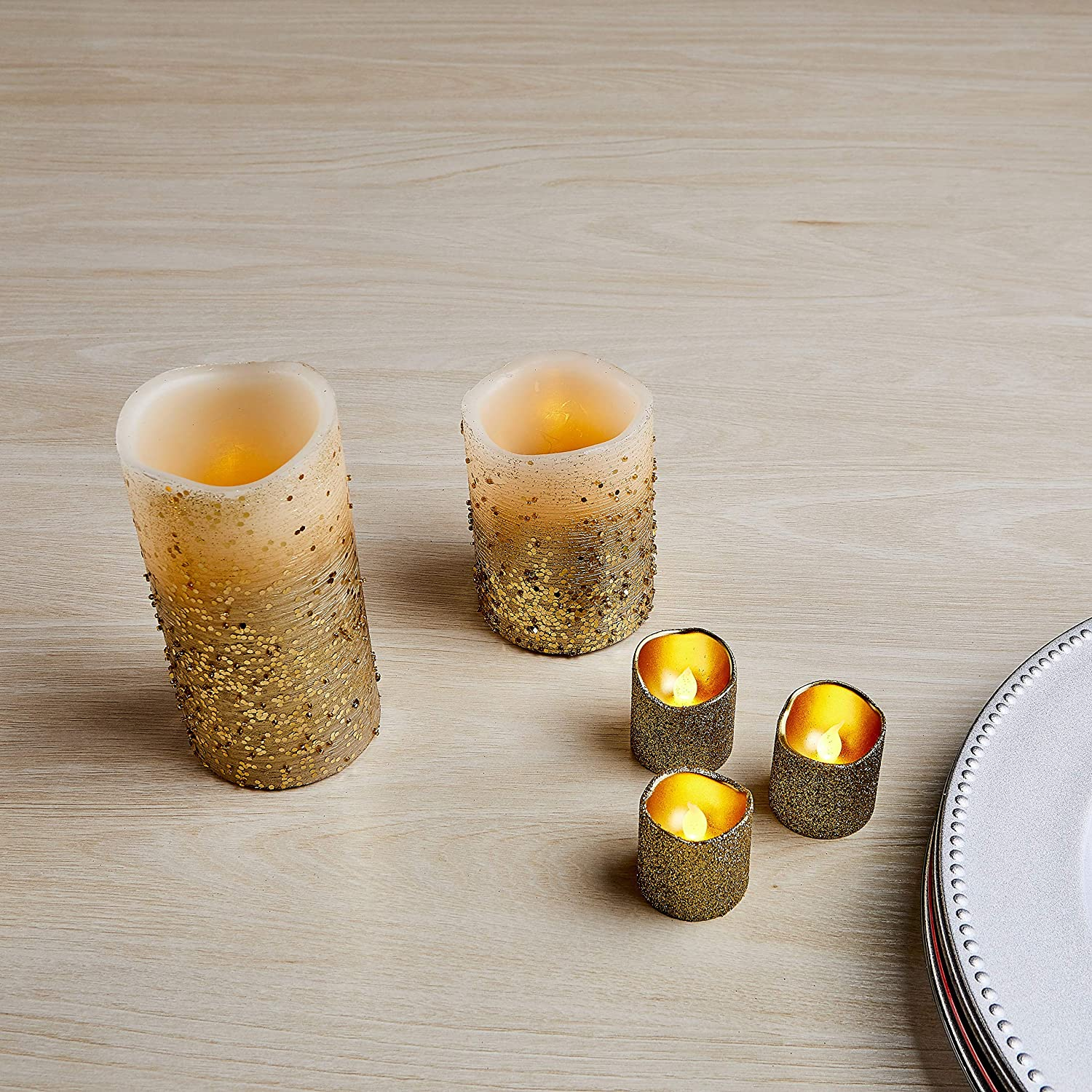 Real Wax Battery Operated Pillars and Votives LED Candles with Flickering Flame and Timer Featured Furora LIGHTING LED Flameless Candles with Remote Control Gold Glittery Set of 8